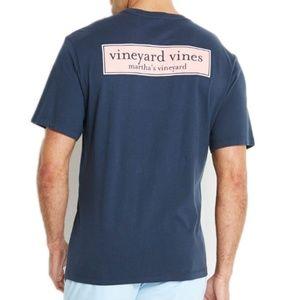Vinyard Vines Signature Short Sleeve Navy/Pink Tee